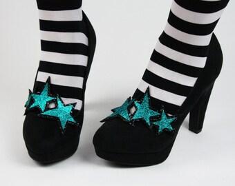 Glitter Stars Double Shoe Clips