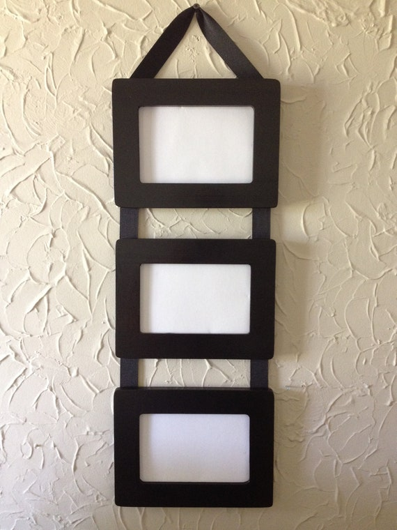 Items similar to Ribbon Hanging Picture Frames / Set of 3, 4x6 black ...
