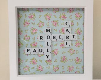 Scrabble Personalised wood frame Mother's Day any occasion