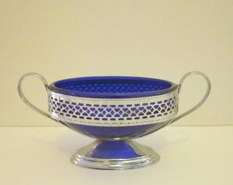 Cobalt Blue Glass Oval Candy Dish & Chrome Stand