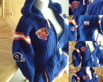 Chicago Bears NFL Crochet Adult Hoodie Stadium Jacket