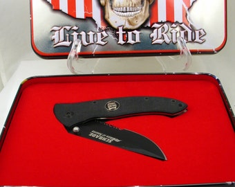 Schrade Bikers of America Skull Knife in Tin Live to Ride Vintage