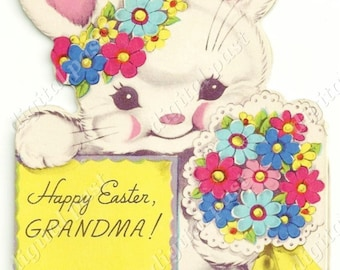 Happy Easter, Grandma! - Instant Download - Vintage Easter Card 1940s, Cute White Easter Bunny with flowers, easter clipart easter printable