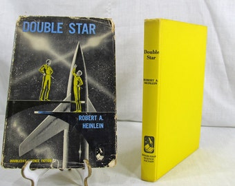 SALE Double Star by Robert Heinlein Doubleday Book Club First Edition 1956 Yellow Hardcover w/Dust Jacket Science Fiction Vintage Book