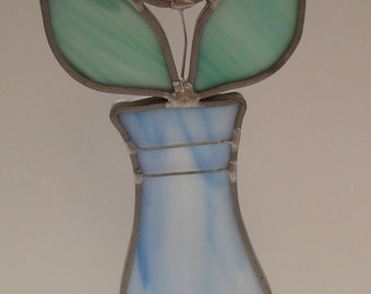 Vintage Stained Glass Pink Rose in Vase - Fun - Excellent Condition!!