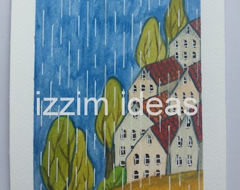 Original gouache and ink hand painted illustration of houses and trees