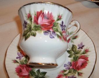 Vintage Paragon Tea Cup & Saucer - Large Pink Roses and Violets