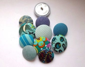 Fabrics and sizes mixed blue, green, turquoise buttons