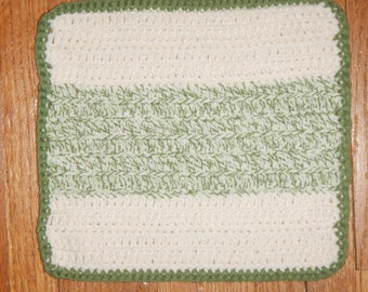 "CLEARANCE - Eco Friendly 100% Cotton hand-crocheted 8"" x 8"" washcloths/dishcloths - Sage Green & Off White"