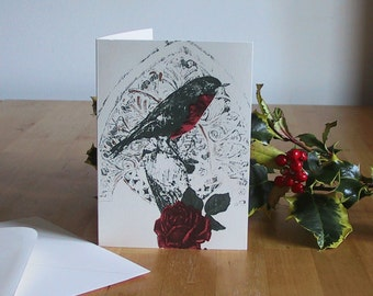 Robin and Rose Winter Greeting Card. Handmade screenprint. Red, green and gold. Retro Victorian design,
