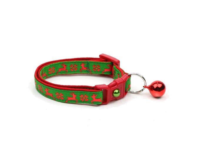 Christmas Cat Collar - Fair Isle Reindeer on Green - Small Cat / Kitten Size or Large(standard) Size Collar