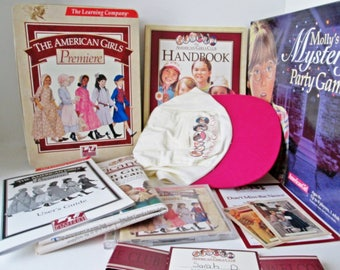 The American Girl Lot, Girls Premiere, Create Your Own Plays Collectors Tin 2 CDs Cap Handbook Users Guide 1997, Mollys Mystery Party Game