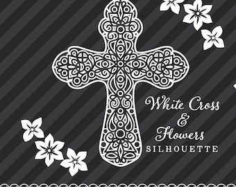 White Cross and Flower Silhouette - Five Crosses and Three Flowers - Digital Clip Art - PNG & SVG