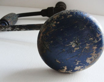 Vintage Brace Hand Drill Rusty Industrial Blue Tool Salvage