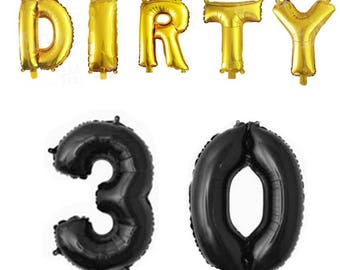 "Dirty 30 Jumbo Balloon Numbers 34"" balloon set/ black and gold dirty thirty"