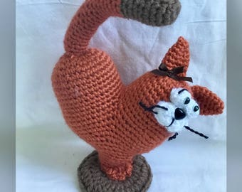 Amigurumi Cat, Heart Cat, Crochet Orange Cat, Stuffed Doll Cat