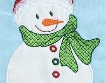 INSTANT DOWNLOAD Happy Snowman Machine Embroidery Applique Designs