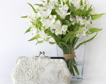 Bridal Clutch with Pearl Sakura Cherry Blossoms Flower Vine Lace in Ivory