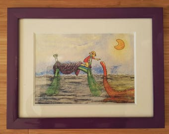 """Watercolor """"Monster under the bed"""" A5 framed * Watercolour A monster under the bed A5 framed *."""