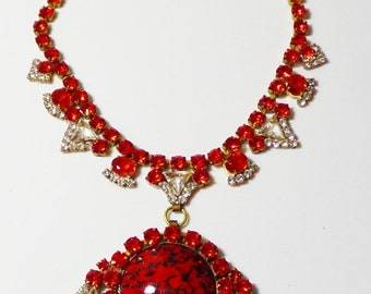 ON SALE Husar D Czech Glass Red and Clear Rhinestone Pendant Necklace
