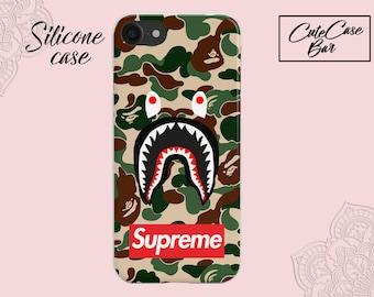 Bape Phone Case Fashion supreme Army A Bathing Ape Camo Shark Camouflage hard Case Matte Cover For iPhone X Plus 6S Plus Fundas Note Case