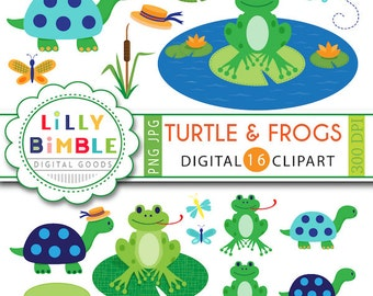 Turtle and Frogs clipart for birthdays, scrapbook, frog pond dressed turtle woodland INSTANT download