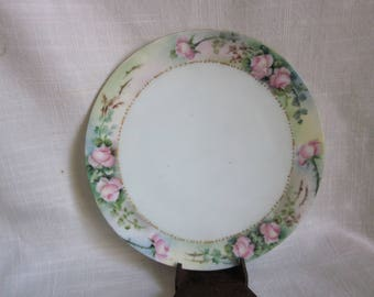 Thomas Sevres Bavaria Plate, Hand Painted Pink Rose Plate,  Antique Plates, Bavarian Plate, Bavaria Germany
