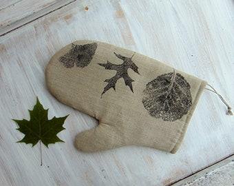 Oven glove, kitchen mitt, linen fabric, kitchen textile, leaf