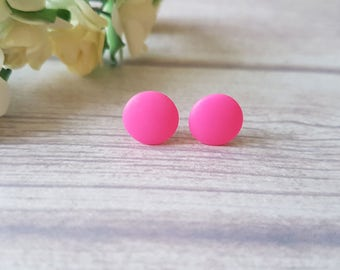 Hot pink earrings, Neon pink stud earrings, Fun stud earrings, Little girls earrings, Summer earrings, Pink studs, Fun earrings, SImple stud