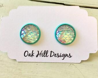 Mermaid scale earrings, mermaid jewelry, turquoise mermaid earrings, mermaid scale jewelry, clear mermaid scale earrings