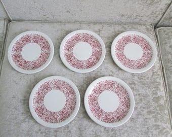 McNicol Red Transfer China Dessert Plates Drake Pattern Circa 1960's  #17250