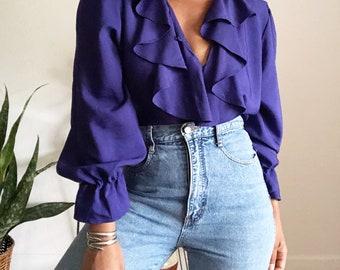 vintage violet ruffled poet blouse • m-l