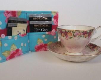 Tea Bag Wallet,Tea Wallet, Tea Bag Holder, Tea Bag Storage, Tea Bag Caddy, Travel Tea Bag Holder, Rose Garden