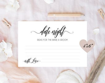 Date night cards, Wedding date night cards, Date night idea cards, Bridal shower date night jar ideas, Date night jar printable cards, 4x6