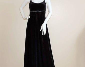 80's Black Velvet Dress, Velour Maxi Dress, Super Low Fat Dress Made in USA, Goth Festival Black Widow Dress, Classy Evening Dress