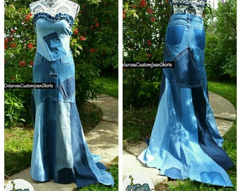 DELAROSA Britney Patchwork with train maxi denim skirt Custom Order to Your Size 0-2-4-6-8-10-12-14-16-18-20-22-24 avant-garde