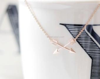 Tiny Arrow Necklace, Cross arrow necklace, 2 arrow necklace, rose gold necklace