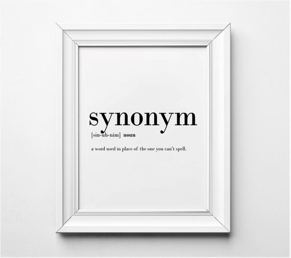 Synonym Definition Funny Office Wall Art Office Decor