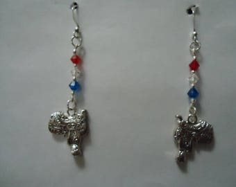 Red, White (Clear), Blue Swarovski Elements Crystals with Silver Saddle Dangle Earrings