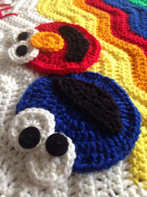 Elmo And Cookie Monster Brightly Colored Ripple Afghan