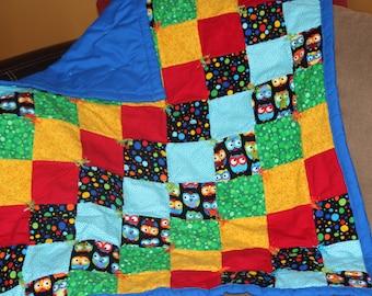 Handmade Baby Quilt (owls & multi)