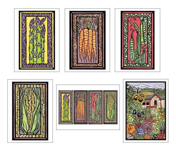 Garden Collection - 6 Blank Greeting Cards - Asparagus, Peas, Carrots, Corn, Veggies, Garden - Farmer's Market, Summer Notecards