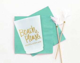 Personalized Bachelorette Cups Custom Beach Bachelorette Party Supplies Beach Please Decorations Bachelorette Party Favors Bridesmaids Cups