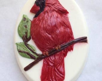 Cardinal Soap, Bird Soap, Fancy Soap, Bath Soap, Novelty Soap, You pick scent