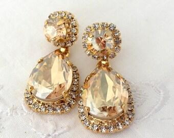 Champagne earrings,Chandelier earrings,Champagne bridal earrings,Champagne bridesmaid,Champagne wedding,dangle earrings,Gold earrings