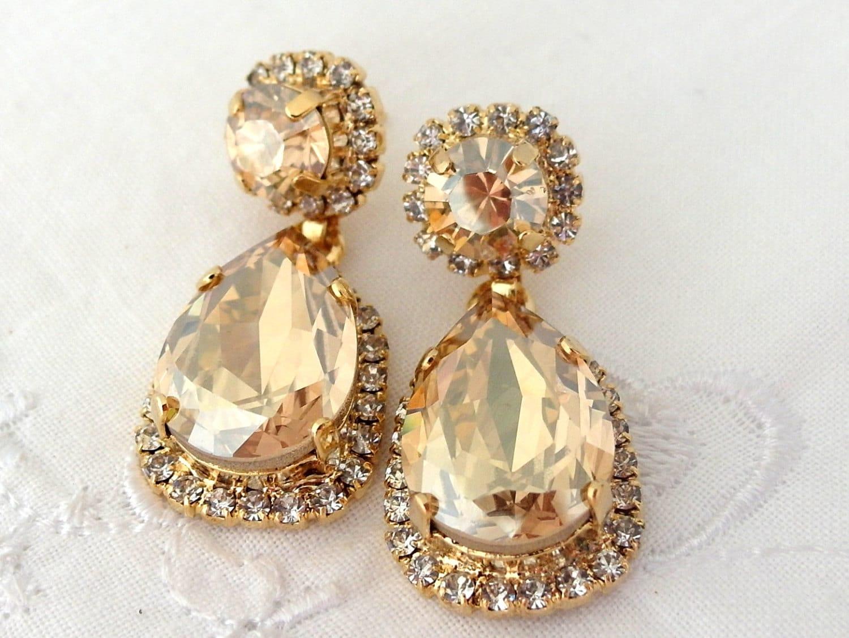 Champagne chandelier earringschampagne bridal zoom arubaitofo Gallery