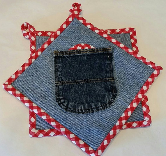 Red Pot Holders: Denim & Red Gingham Pot Holders Set Of Two