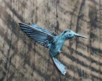 Hanging Hummingbird copper patina sculpture