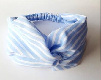 Blue and white striped cotton veil headband women hair turban headband