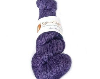 Hand dyed lace yarn, BFL/Silk Methera lace 'Amethyst'